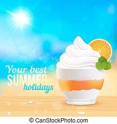Summer creamy dessert on sunny beach