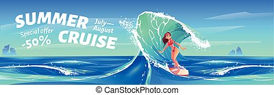 Summer cruise banner with surfer girl
