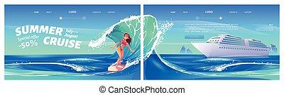 Summer cruise cartoon landing with surfing girl