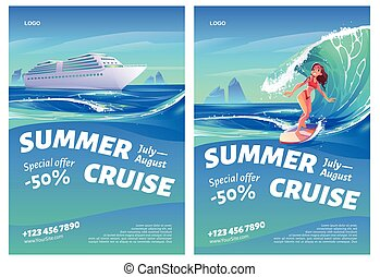 Summer cruise posters with ship and surfer girl