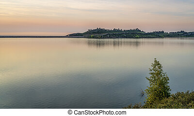 summer dawn over Horsetooth Reservoir at foothills of Rocky ...