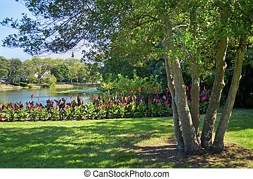 A lakeside park in Spring Lake New Jersey with beautiful Summer flowers.