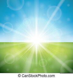 Summer day bright sun flare