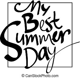 summer day frame card vector illustration. digital hand drawn words. black lettering design element
