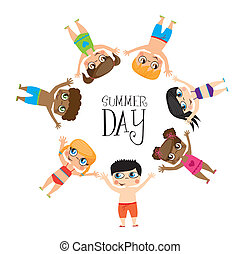 Summer day - Girls draw on summer day image, Vector...