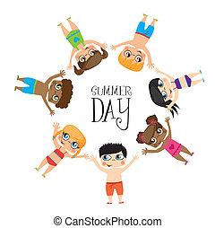 Girls draw on summer day image, Vector Illustration