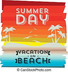 summer day over wooden background vector illustration
