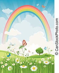 Summer day with rainbow