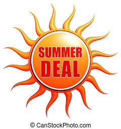 summer deal in 3d sun label