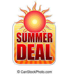 summer deal in label with sun