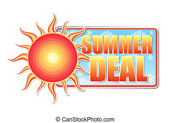 summer deal banner - text in blue label with red yellow sun and white daisy flowers, business concept