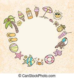 Summer decorative round banner