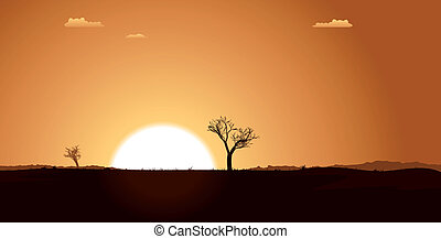 Summer Desert Plain Landscape - Illustration of a summer or...