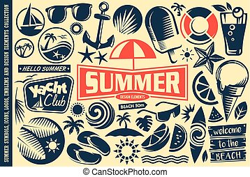Summer design elements collection