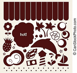 Summer design elements in retro style ( brown )