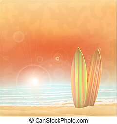 Summer design over beach scape background, vector illustration
