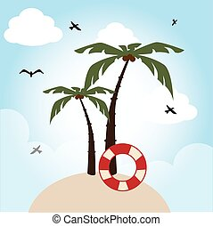 Summer design over beachscape background vector illustration...