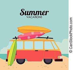 Summer design over beachscape background, vector...