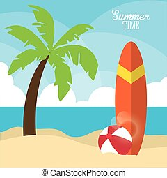 Summer design. palm tree and surf table icon. graphic vector