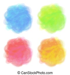Summer design. Set of 4 bright spots. Pseudo watercolor stains. Round elements with paint texture