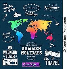 Summer design. Set of typographic labels for summer...