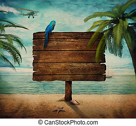 Summer design - Sign with sea view on the beach. Wooden sign...