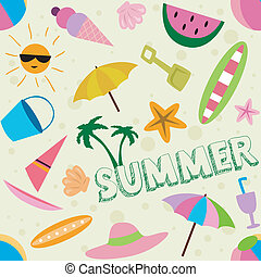 Summer Design - Seamless Illustration Background with a...