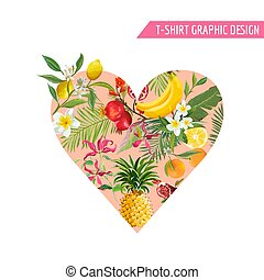 Summer Design with Tropical Fruits. Heart Shape with...