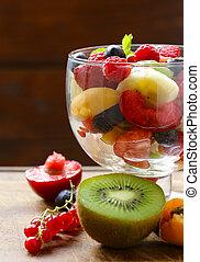 Summer dessert fruit salad with berries