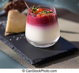 summer dessert - strawsberry  dessert on stone plate