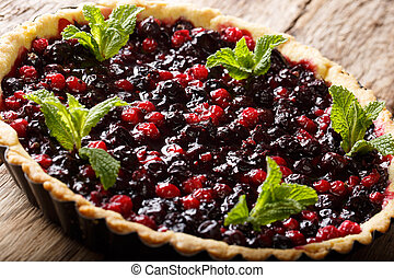 Summer dessert: tart with currant berries, blueberries and cranberries close-up in a baking dish. horizontal