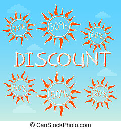 summer discount with different percentages in suns