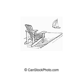 simple sketch image of Adirondack chair on dock with sailing boat. Original artwork by contributor