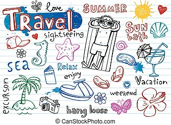 Summer doodle set, - Summer holiday vector doodle collection