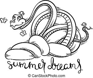 Funny and friendly cartoon snake with butterflies.