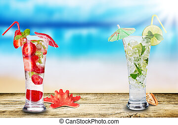 Fresh ice summer drink on beach background
