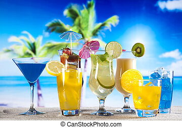 Summer drink with beach on background