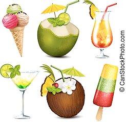 Summer drinks and ice cream