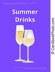 Summer Drinks Champagne Advertisement Poster