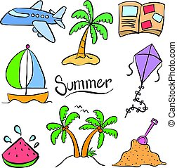 Summer element holiday doodle style