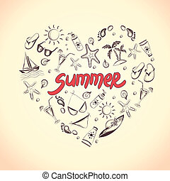 Summer elements for your design - Set of summer icons. Heart...