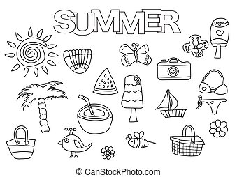 Summer elements hand drawn set. Coloring book template.  Outline doodle