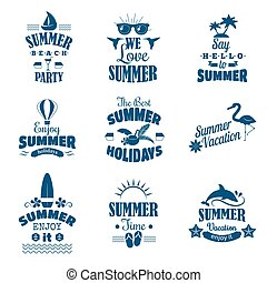Summer emblem vector set.