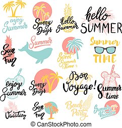 Summer emblems. Set of hand drawn lettering phrases on white background. Design element for poster, greeting card. Vector illustration