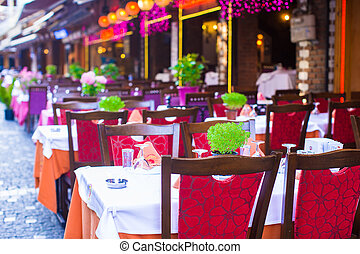 Summer empty open air restaraunt at tourist city of Istanbul...