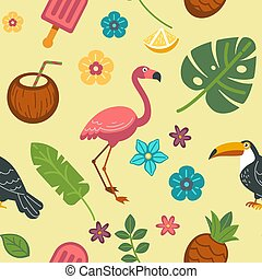 Summer endless texture with exotic birds and tropical plants
