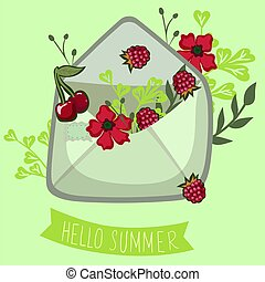 Summer envelope with berries. Lettering hello summer. Vector graphics.