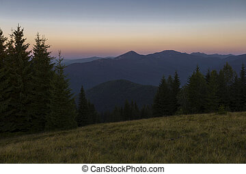 Summer evening after sunset in the Carpathians