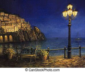 Summer Evening in Amalfi - An oil painting on canvas, of a...