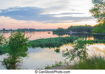 summer evening landscape view of the river